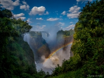 Rainbows at the Victoria falls in Zimbabwe