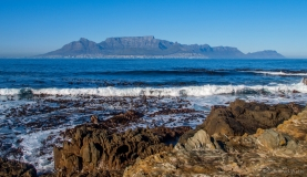 Table mountain from Robben island, South-Africa